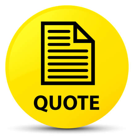 testimonials: Quote (page icon) isolated on yellow round button abstract illustration