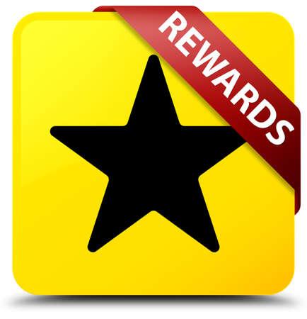 Recompensas (icono de estrella) aislado en el botón cuadrado amarillo con cinta roja en la ilustración abstracta de esquina Foto de archivo