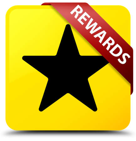 Rewards (star icon) isolated on yellow square button with red ribbon in corner abstract illustration