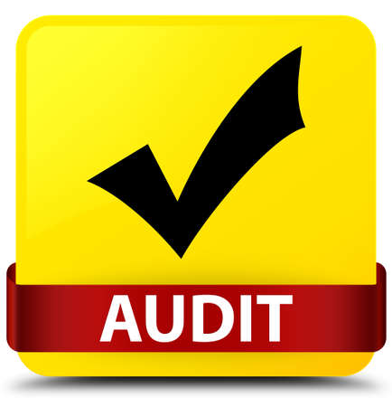 Audit (validate icon) isolated on yellow square button with red ribbon in middle abstract illustration
