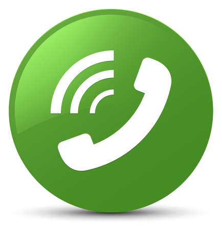 Phone ringing icon isolated on soft green round button abstract illustration Stock Photo