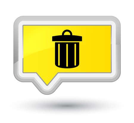 Icône de corbeille isolée sur illustration abstraite bouton bannière jaune prime Banque d'images - 89692112