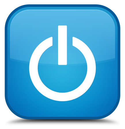 Power icon isolated on special cyan blue square button abstract illustration Stock Photo