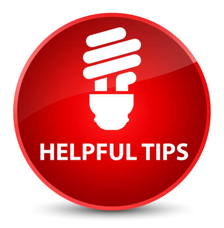 Helpful tips (bulb icon) isolated on elegant red round button abstract illustration