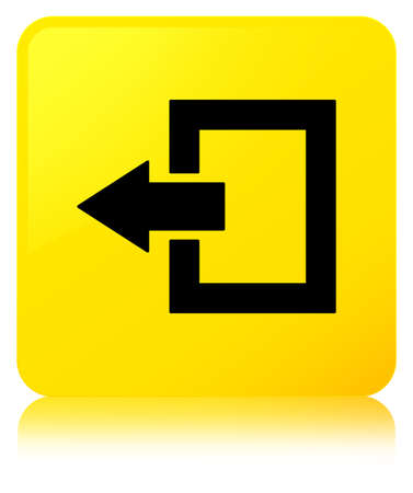 Logout icon isolated on yellow square button reflected abstract illustration Stock Photo