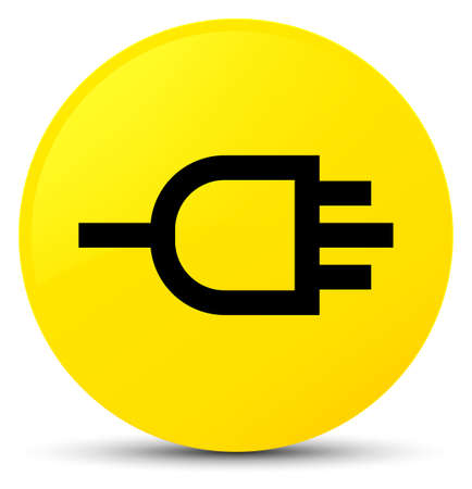 Connect icon isolated on yellow round button abstract illustration