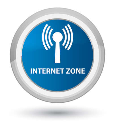 Internet zone (wlan network) isolated on prime blue round button abstract illustration
