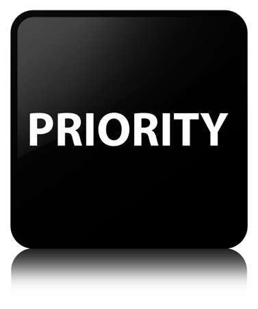 Priority isolated on black square button reflected abstract illustration