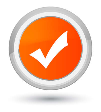 Validation icon isolated on prime orange round button abstract illustration