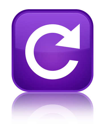 Reply rotate icon isolated on special purple square button reflected abstract illustration