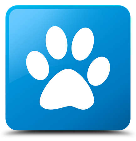 Animal footprint icon isolated on cyan blue square button abstract illustration Stock Photo