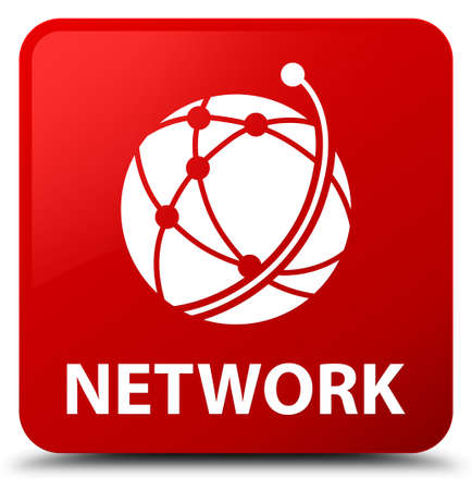 Network (global network icon) isolated on red square button abstract illustration