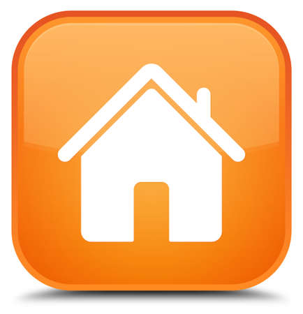 Home icon isolated on special orange square button abstract illustration Banco de Imagens