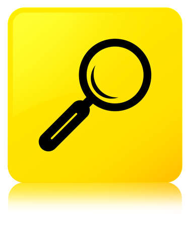 Magnifying glass icon isolated on yellow square button reflected abstract illustration Stock Photo
