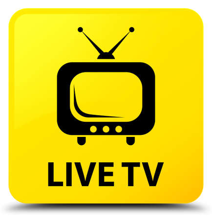 Live tv isolated on yellow square button abstract illustration Stock Photo