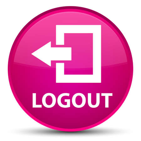 Logout isolated on special pink round button abstract illustration