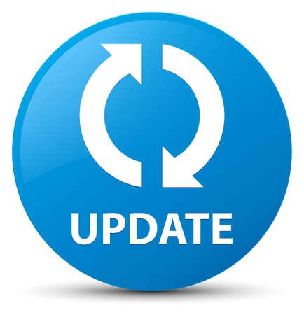 Actualización aislada en la ilustración abstracta del botón redondo azul cian