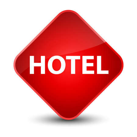 Hotel isolated on elegant red diamond button abstract illustration Stock Photo
