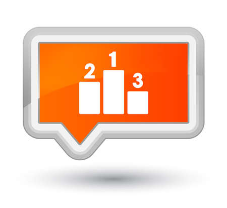 prime: Podium icon isolated on prime orange banner button abstract illustration