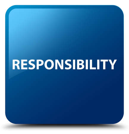 Responsibility isolated on blue square button abstract illustration