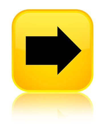 next icon: Next arrow icon isolated on special yellow square button reflected abstract illustration