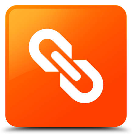 Link icon isolated on orange square button abstract illustration