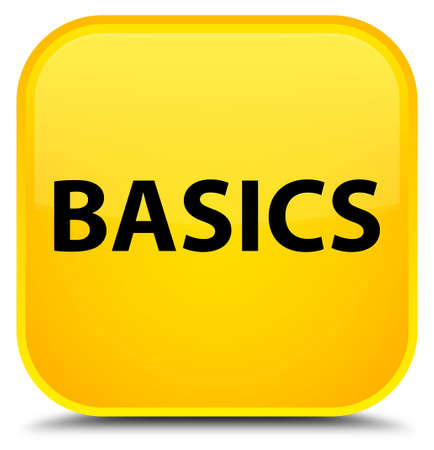 Basics isolated on special yellow square button abstract illustration Фото со стока