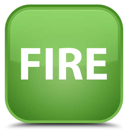 Fire isolated on special soft green square button abstract illustration