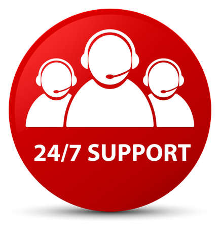 247 Support (customer care team icon) isolated on red round button abstract illustration