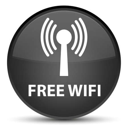 Wifi gratuit (réseau WLAN) isolé sur illustration abstraite spéciale bouton rond noir Banque d'images - 89717504