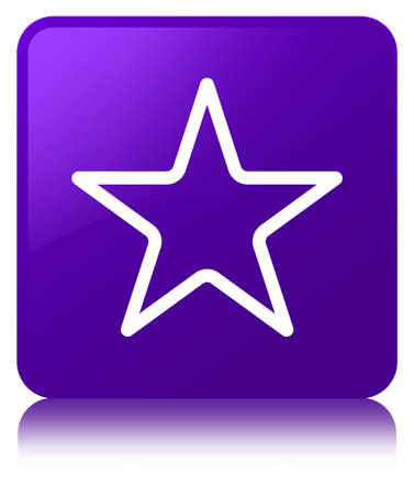 Star icon isolated on purple square button reflected abstract illustration