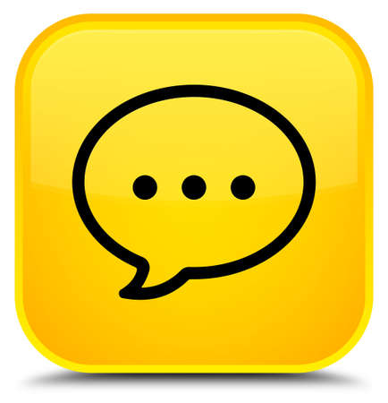 Talk bubble icon isolated on special yellow square button abstract illustration