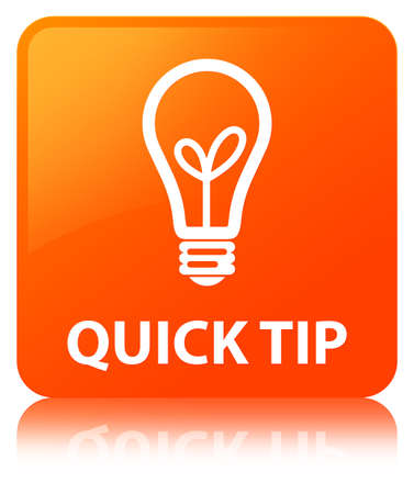Quick tip (bulb icon) isolated on orange square button reflected abstract illustration