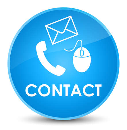 Contact (phone email and mouse icon) cyan blue isolated on elegant round button abstract illustration