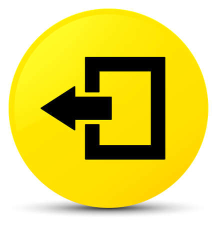 Logout icon isolated on yellow round button abstract illustration