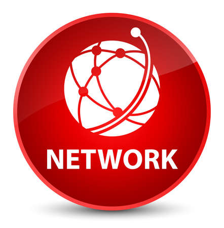 Network (global network icon) isolated on elegant red round button abstract illustration