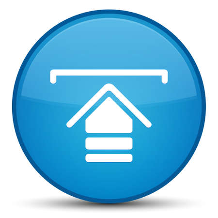 Upload icon isolated on special cyan blue round button abstract illustration Standard-Bild