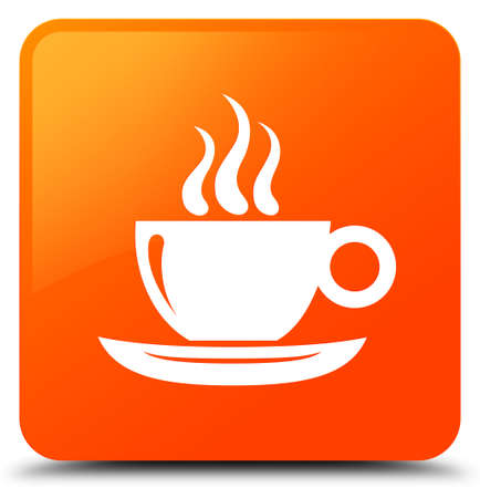 Coffee cup icon isolated on orange square button abstract illustration Stock Photo