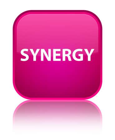 De synergisme op speciale roze vierkante knoop wordt geïsoleerd wees op abstracte illustratie die Stockfoto