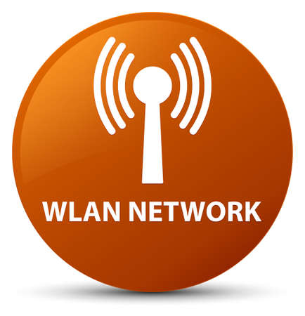 Wlan network isolated on brown round button abstract illustration