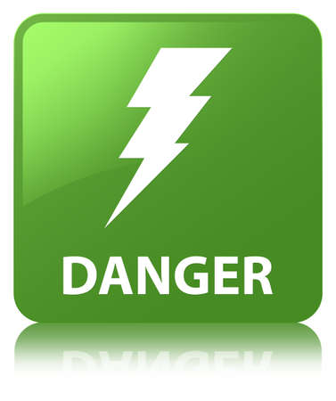Danger (electricity icon) isolated on soft green square button reflected abstract illustration Stock Photo