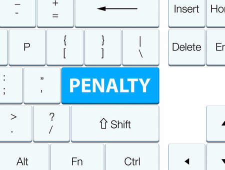 Penalty isolated on cyan blue keyboard button abstract illustration