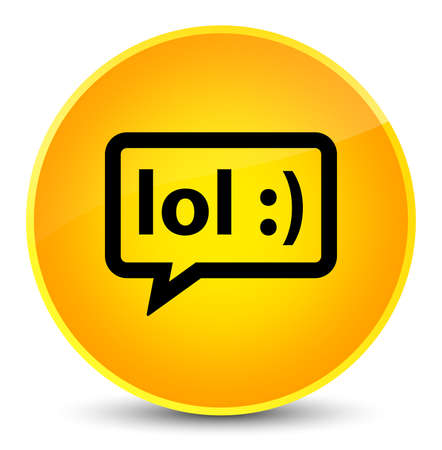 laugh out loud: LOL bubble icon isolated on elegant yellow round button abstract illustration Stock Photo