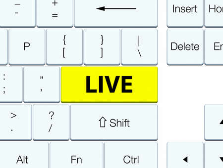 Live isolated on yellow keyboard button abstract illustration
