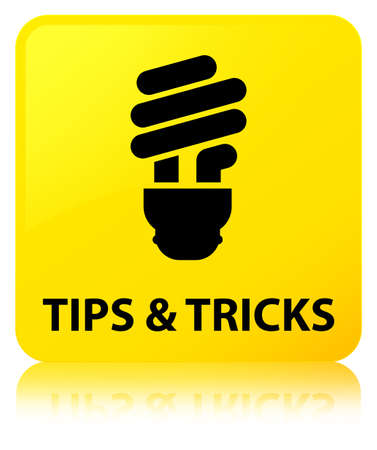 Tips and tricks (bulb icon) isolated on yellow square button reflected abstract illustration Stock Photo
