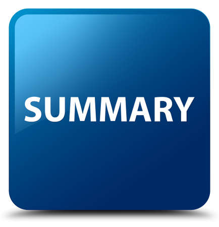 Summary isolated on blue square button abstract illustration