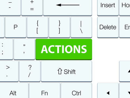Actions isolated on soft green keyboard button abstract illustration Фото со стока
