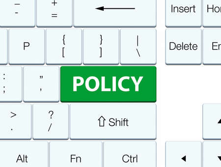 Policy isolated on green keyboard button abstract illustration Banco de Imagens