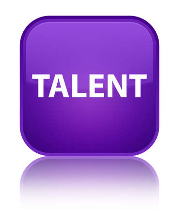 Talent isolated on special purple square button reflected abstract illustration
