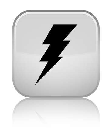 voltage sign: Electricity icon isolated on special white square button reflected abstract illustration Stock Photo